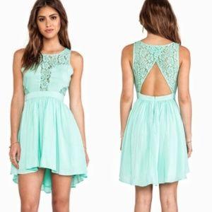 Mint BCBGeneration Lace Hi-Low Open Back Dress